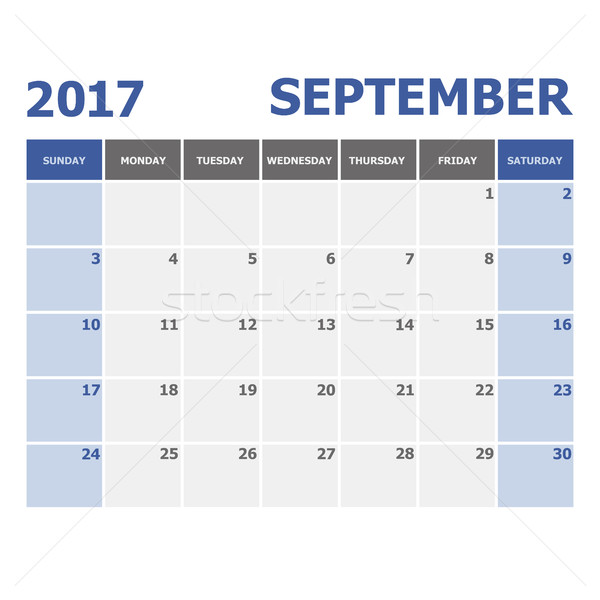 2017 September calendar week starts on Sunday Stock photo © punsayaporn