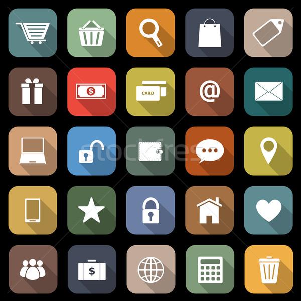 Ecommerce iconen lang schaduw voorraad vector Stockfoto © punsayaporn