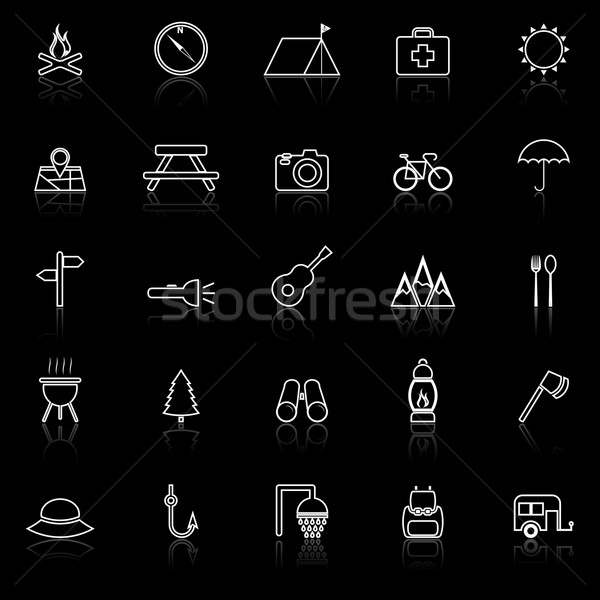 Camping line icons with reflect on black Stock photo © punsayaporn