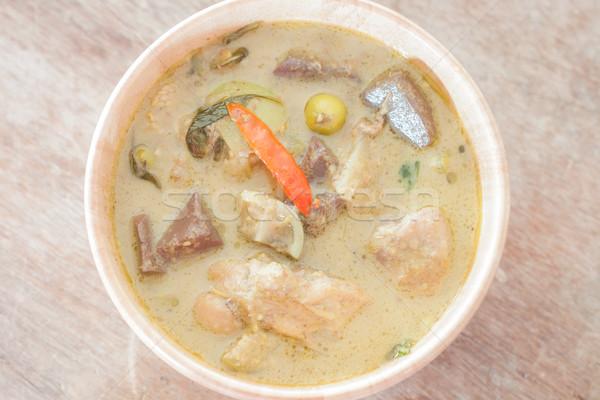 Köri ahşap çanak stok fotoğraf gıda Stok fotoğraf © punsayaporn