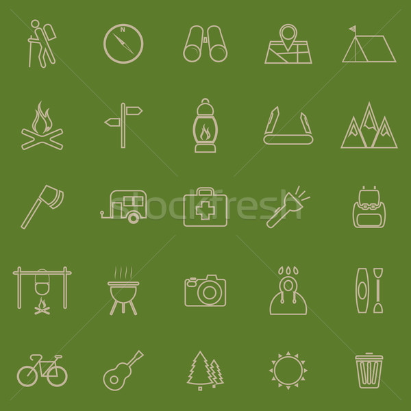 Trekking line color icons on green background Stock photo © punsayaporn