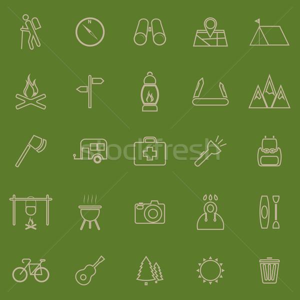 Trekking ligne couleur icônes vert stock Photo stock © punsayaporn