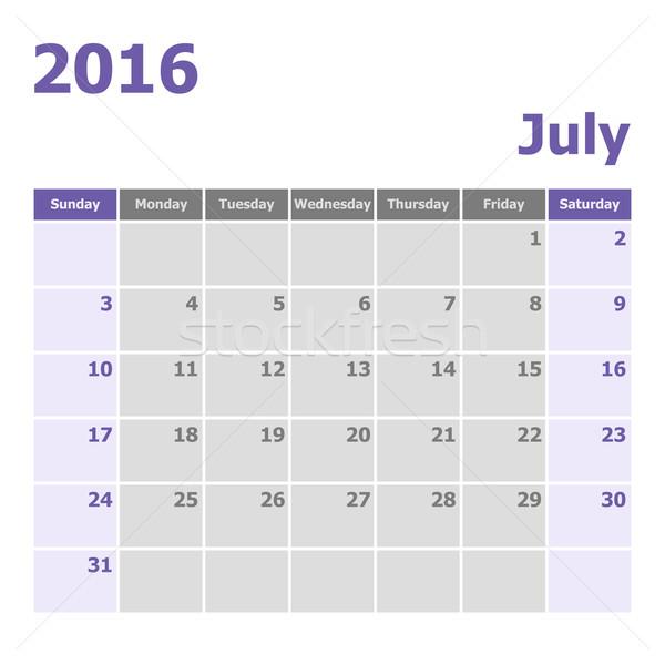 Calendar July 2016 week starts from Sunday Stock photo © punsayaporn