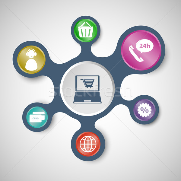 E-commerce infographic templates with connected metaballs Stock photo © punsayaporn