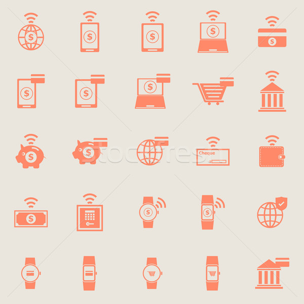 Fintech color icons on grey background Stock photo © punsayaporn