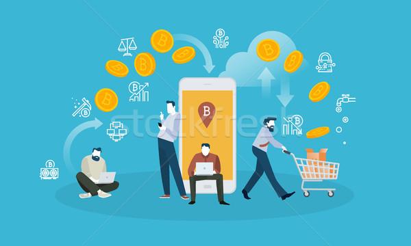 Bitcoin csere terv stílus háló szalag Stock fotó © PureSolution