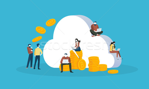 Cryptocurrency cloud mining Stock photo © PureSolution