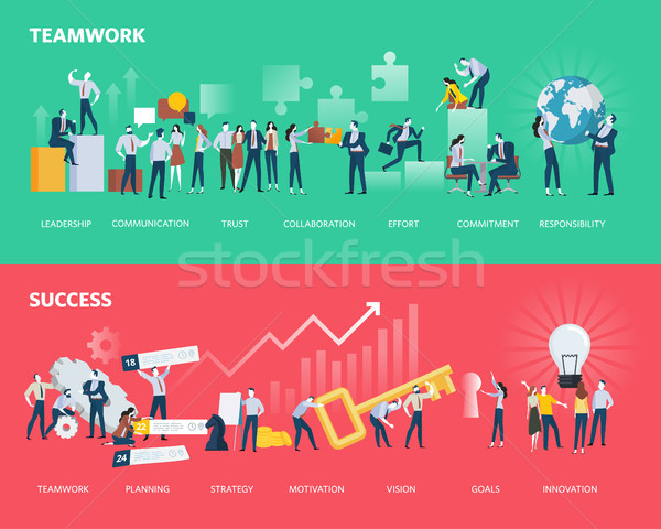 Flat design style web banners of teamwork and success Stock photo © PureSolution