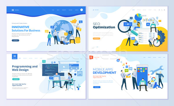 Stock photo: Set of web page design templates for SEO, mobile apps, business solutions