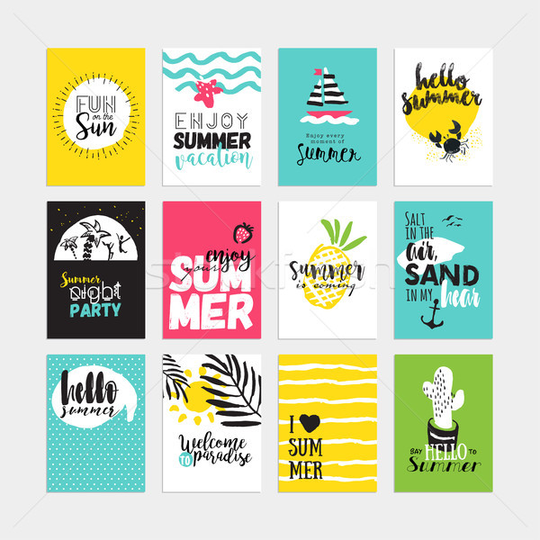 Set of hand drawn watercolor summer cards and banners Stock photo © PureSolution
