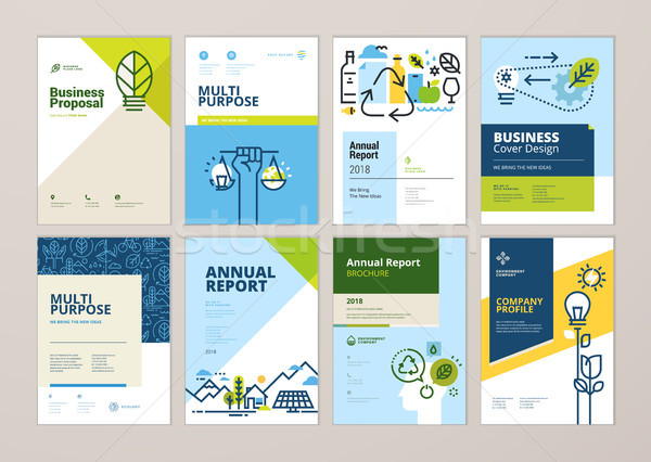 Set of brochure and annual report cover design templates of nature, green technology, renewable ener Stock photo © PureSolution