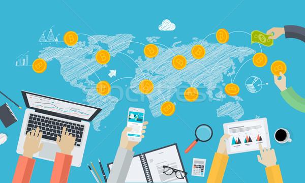 Digitale valuta uitwisseling ontwerp stijl web Stockfoto © PureSolution