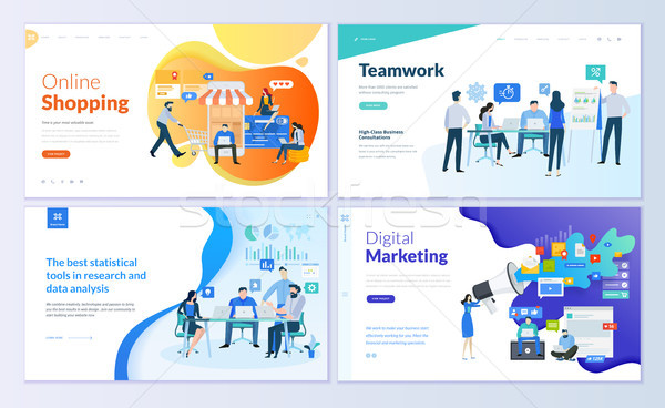 Set of web page design templates for online shopping, digital marketing, teamwork, business strategy Stock photo © PureSolution