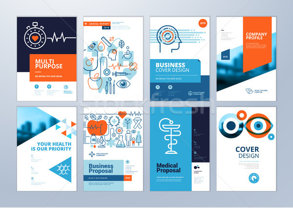 Set of brochure, annual report, flyer design templates in A4 size Stock photo © PureSolution