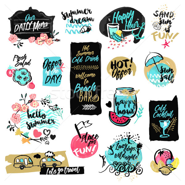 Set of hand drawn watercolor labels and badges of summer Stock photo © PureSolution