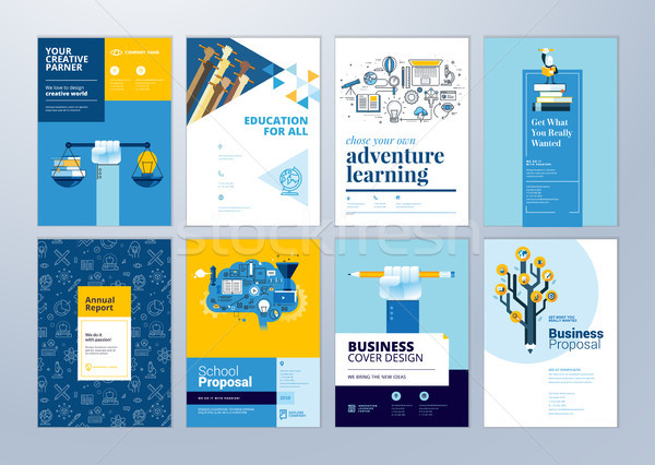 Set of brochure design templates on the subject of education, school, online learning.  Stock photo © PureSolution