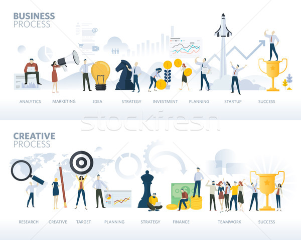 Set of flat design web banners of business process and creative process, isolated on white Stock photo © PureSolution