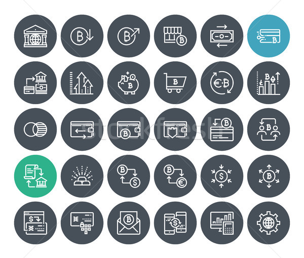 Thin line cryptocurrency icons set Stock photo © PureSolution
