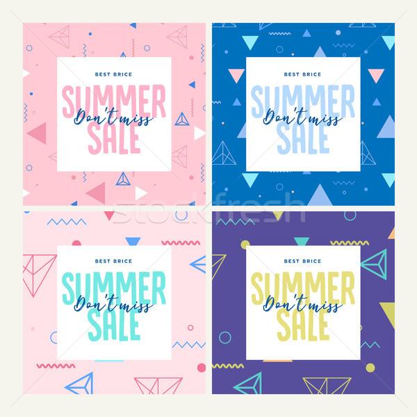 Conjunto móvel banners verão venda Foto stock © PureSolution