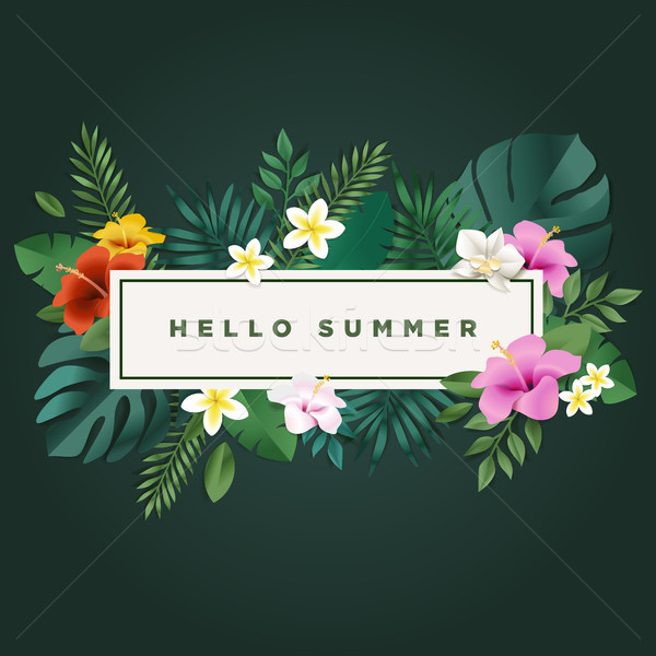 Stock photo: Hello summer vector illustration for background, mobile and social media banner, summertime card, pa