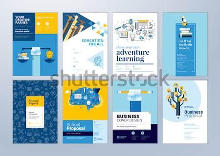 Conjunto folheto projeto templates educação escolas Foto stock © PureSolution