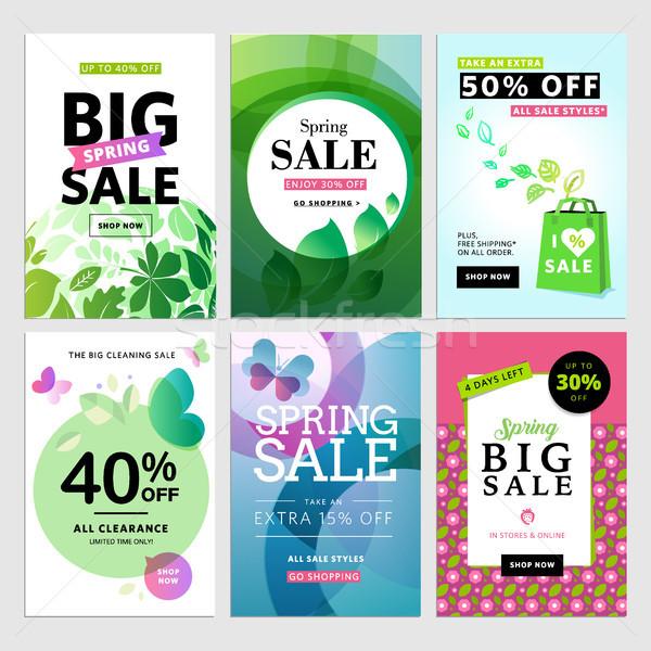 Oog voorjaar verkoop banners ingesteld vector Stockfoto © PureSolution