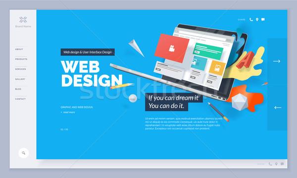 Stockfoto: Website · design · sjabloon · website · mobiele · ontwikkeling · creatieve