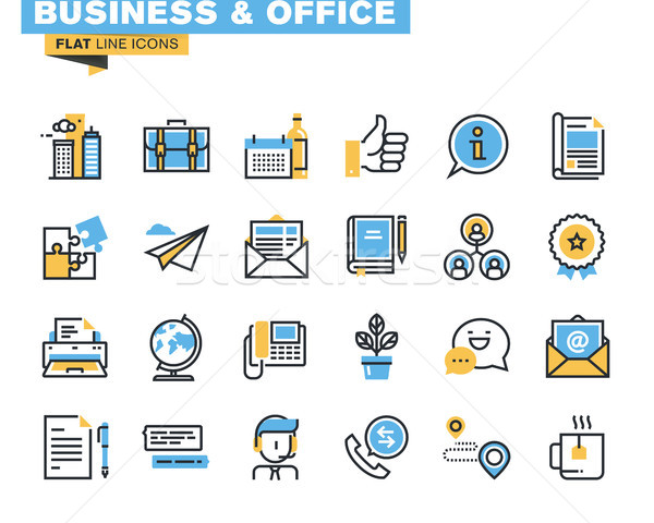 Trendy flat line icon pack for designers and developers Stock photo © PureSolution