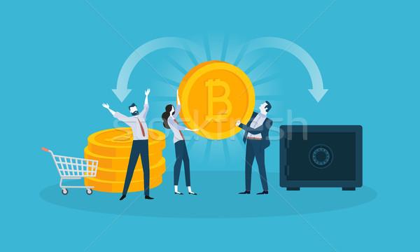 Bitcoin veiligheid ontwerp stijl web banner Stockfoto © PureSolution