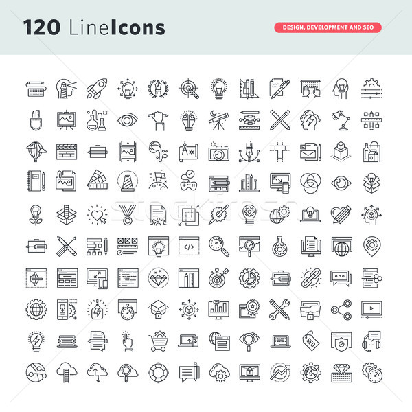 Set of premium vector thin line icons  Stock photo © PureSolution
