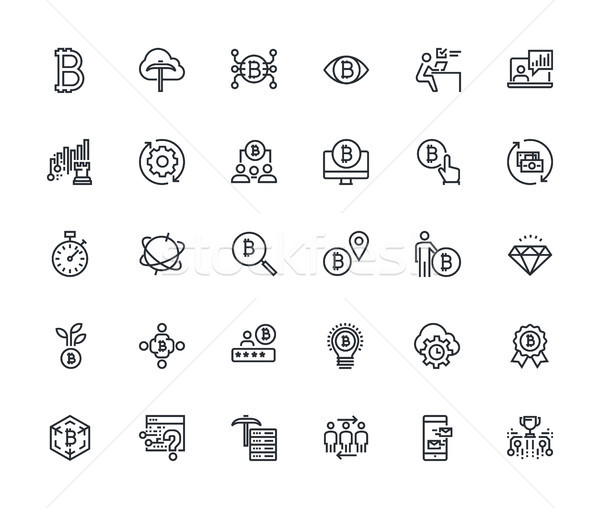 Collection of thin line cryptocurrency icons Stock photo © PureSolution