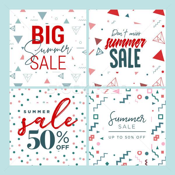 Szett mobil bannerek nyár vásár közösségi média Stock fotó © PureSolution