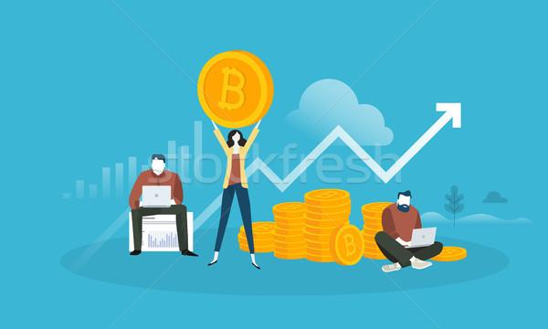 Bitcoin mercado análise projeto estilo teia Foto stock © PureSolution
