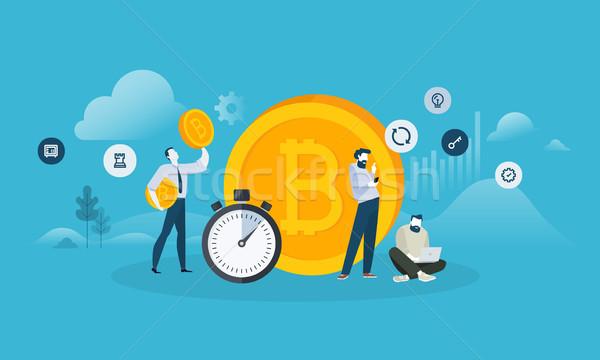 Bitcoin uitwisseling ontwerp stijl web banner Stockfoto © PureSolution