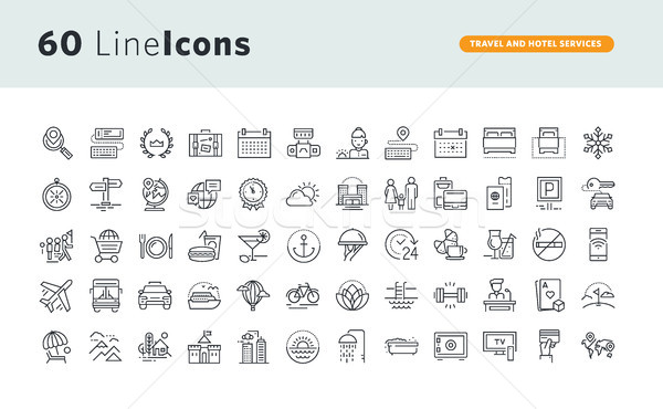 Stock photo: Set of premium concept icons for travel and hotel services