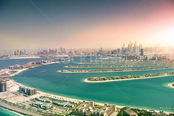 Dubai sziluett pálma sziget Egyesült Arab Emírségek panorámakép Stock fotó © PureSolution