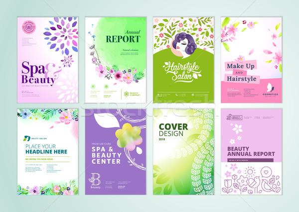 Ingesteld schoonheid brochure verslag flyer Stockfoto © PureSolution