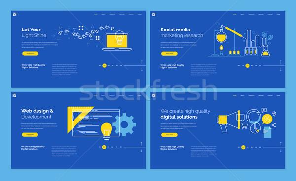 Ingesteld website sjabloon ontwerpen moderne lijn Stockfoto © PureSolution