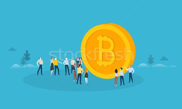Bitcoin terv stílus háló szalag technológia Stock fotó © PureSolution