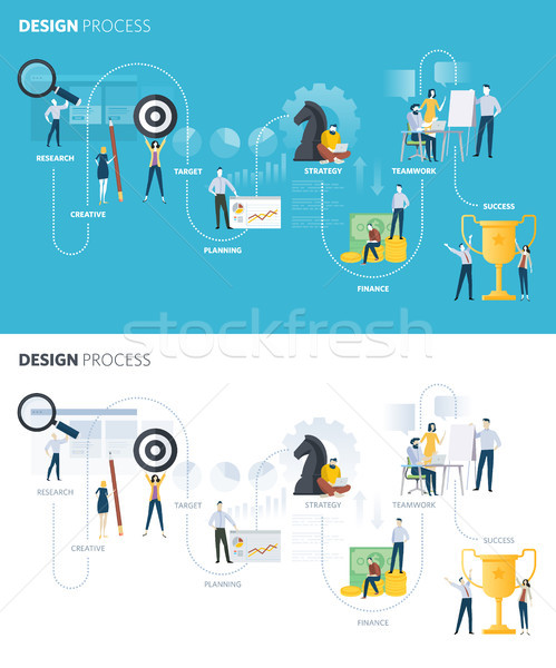 Flat design style web banners of design process Stock photo © PureSolution