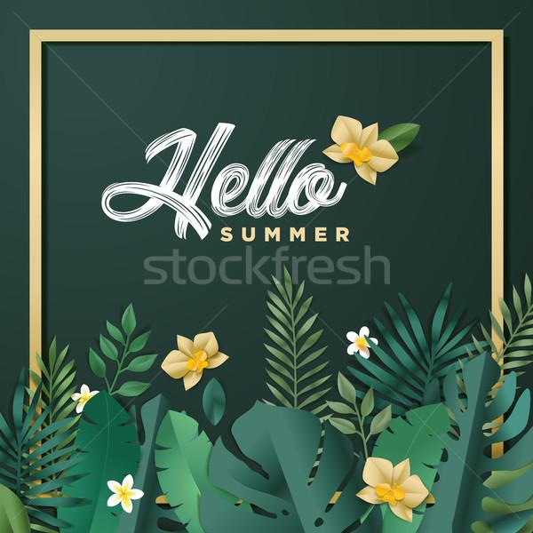 Stock fotó: Hello · nyár · mobil · közösségi · média · szalag · nyáridő