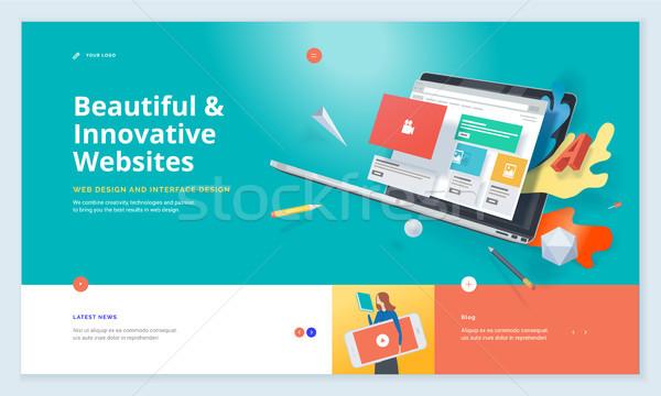 Hatékony weboldal sablon terv modern háló Stock fotó © PureSolution