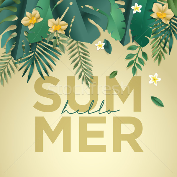 Hello summer vector illustration for background, mobile and social media banner, summertime card, pa Stock photo © PureSolution