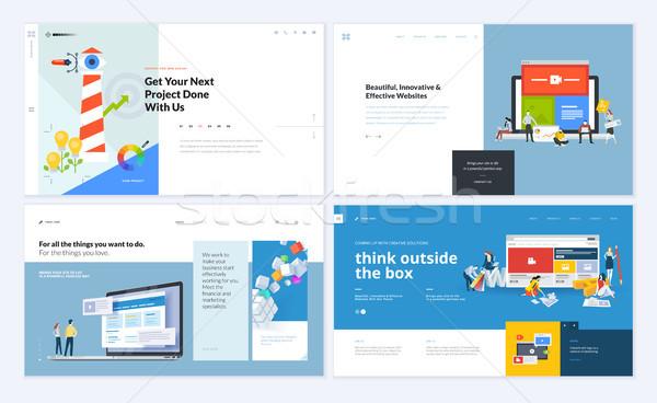 Ingesteld creatieve website sjabloon ontwerpen Stockfoto © PureSolution