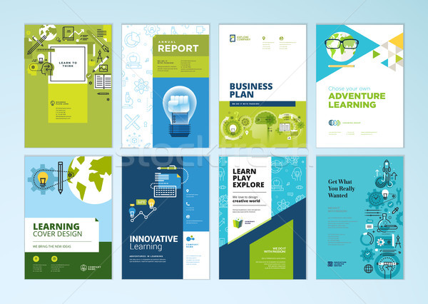 Set of brochure design templates on the subject of education, school, online learning Stock photo © PureSolution