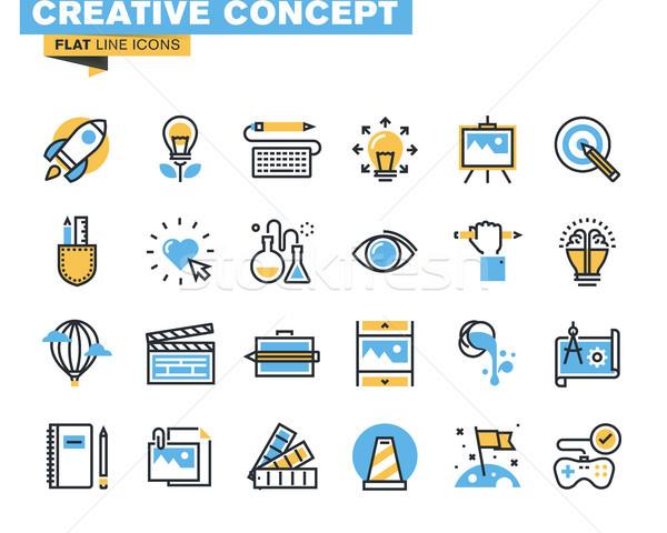 Foto stock: De · moda · línea · icono · Pack · desarrolladores · iconos