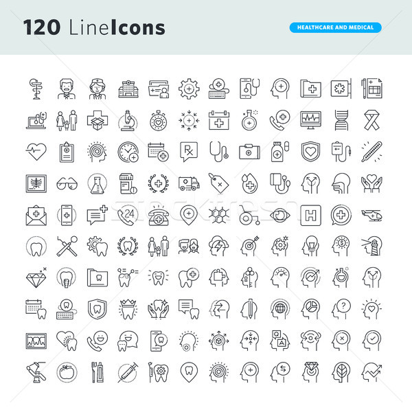 Set of premium concept icons for healthcare and medicine Stock photo © PureSolution