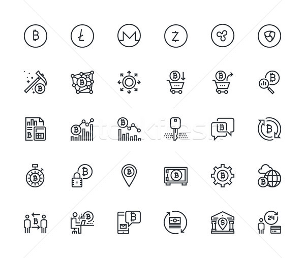 Set of thin line cryptocurrency icons Stock photo © PureSolution