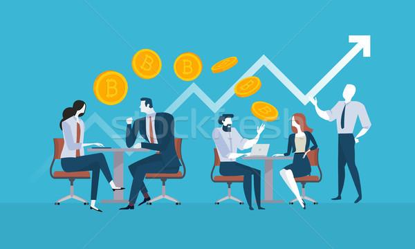 Bitcoin tanácsadás terv stílus háló szalag Stock fotó © PureSolution
