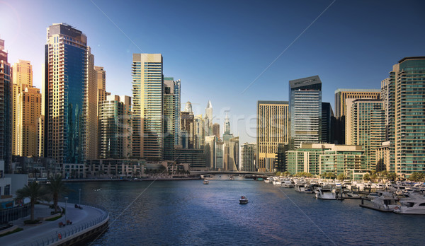 Dubai Marina at sunset Stock photo © PureSolution